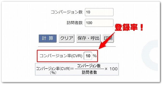 登録率の表示画面
