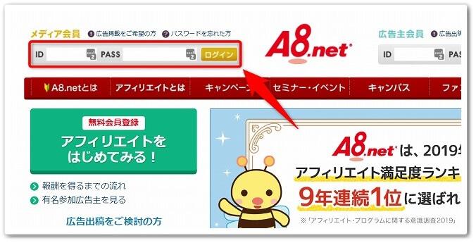 「A8.netへログイン」をする