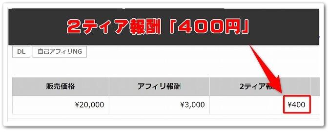 2ティア報酬「400円」